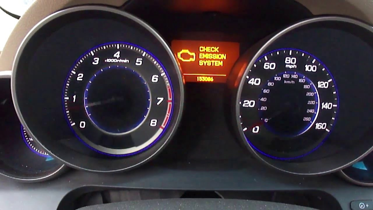 Car Dashboard with Check Engine Light On