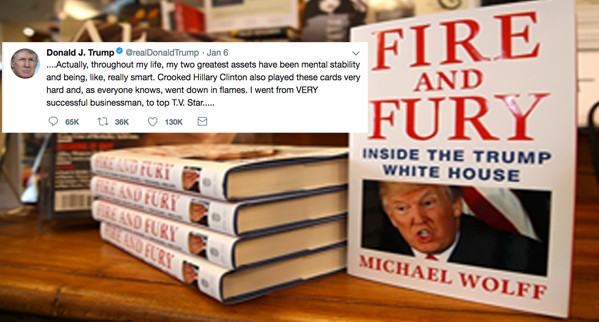 Donald Trump Tweet next to Fire and Fury Book