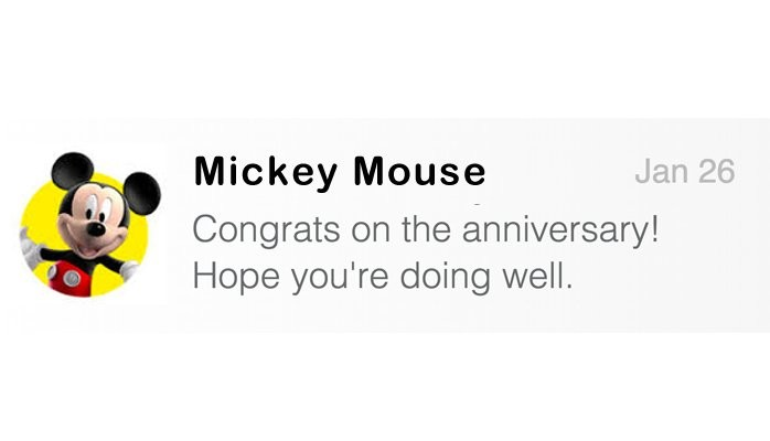 Mickey Mouse Anniversary Message