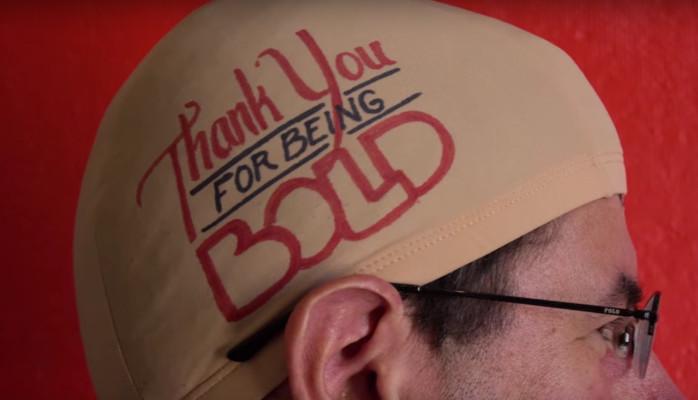 Jeff Freedman in a Be Bold Be Bald Cap