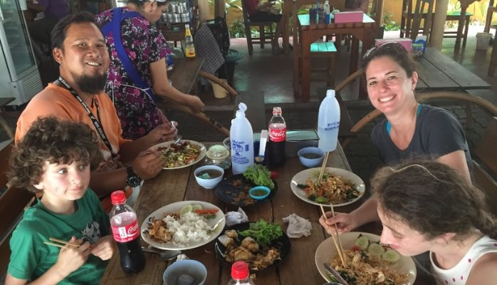 Family Eating Lunch in Thailand