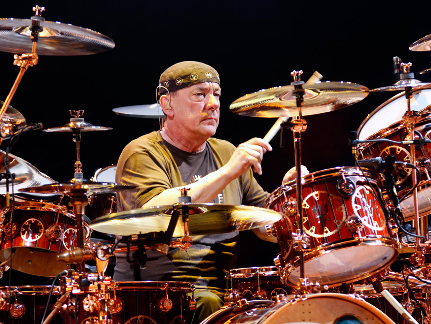 Neil Peart playing drums